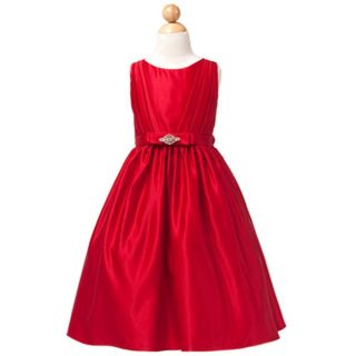 Sweet Kids Girls 6 Red Satin Rhinestone Sash Christmas Dress