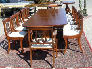 Antique Mahogany Duncan Phyfe 10ft Banquet Dining Table 12 Sabre Leg Chairs