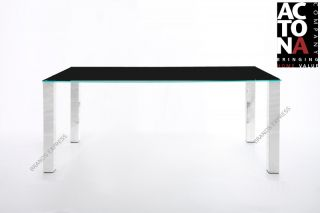 Actona Kante Modern Black Glass Chrome Dining Table