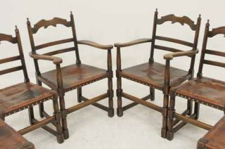 Antique Scottish Oak Ladder Back Dining Chairs with Original Leather Seats