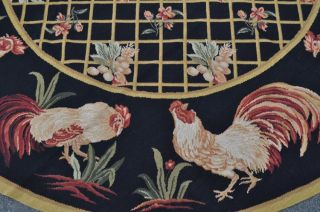 8' Round French Country Rooster Hen Wool Needlepoint Black Area Rug Newly Made