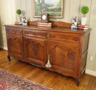 Antique French Country Sideboard Buffet Server Carved Dark Oak Raised Panels Old