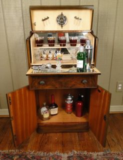 Antique English Art Deco Bar Liquor Martini Cabinet Fitted Walnut Pop Open Key