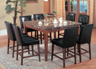 Modern Counter Height Dining Set Pub Table Marble 5 Pcs