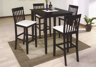 Espresso Pub Table and Four Chairs