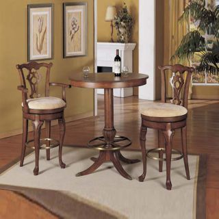 Powell Jamestown Landing Deep Cherry Solid Birch Wood Swivel Armless Bar Stool