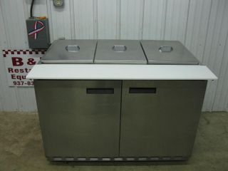 "Delfield 48"" Refrigerated Stainless Steel Sandwich Pizza Prep Table 2 Door 4'"