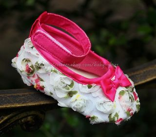 White 3D Floral Toddler Baby Girl Dress Walking Shoes Size Newborn to 18 Months