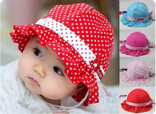 New Cute Baby Girls Sun Polka Dot Hearts Cotton Summer Hat Cap 3 24 Months Hot