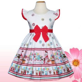 Gorgeous Baby Girls Dresses Kid Clothing Party Fun White Red Party Size 2T 3T
