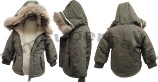 0 Age 3 5 Baby Boy Olive Green Coats Jacket Army Style Warm w Hoods Fur