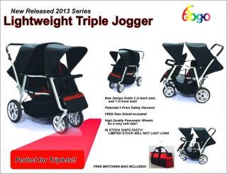 ★★ New Triple Triplet Baby Jogger Stroller Infant Roller Outdoor Chair Red