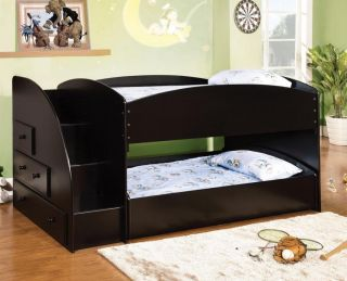 Youth Kids Wood Black Low Profile Twin Twin Loft Bunk Bed with Step Drawers