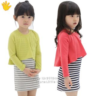 New Cute Kids Girls False 2pc Plain Long Sleeve T Shirt Top Stripe Dress Skirt