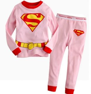 New Toddlers Kids Clothes Girls Boys Superman Pajamas Set Outfits Suits 2T 7T
