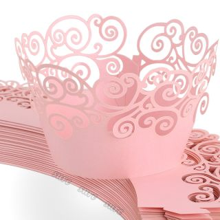 Pink Vine Filigree Cupcake Wrappers Wrap Cases Wedding Birthday Party