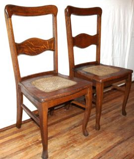 Pair Early American Arts Crafts Tiger Oak Wood Chairs Antique Mission Style