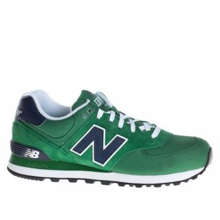 New Balance 574 Canvas Suede US Size Green Dark Blue Trainers Shoes Mens New