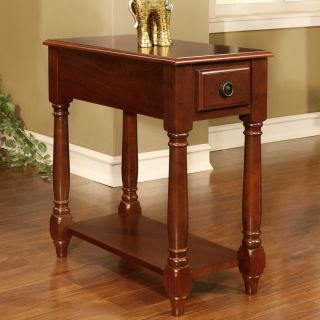 Cherry Rectangular Occasional Wood Accent Chair Side Table Display Panel Shelf