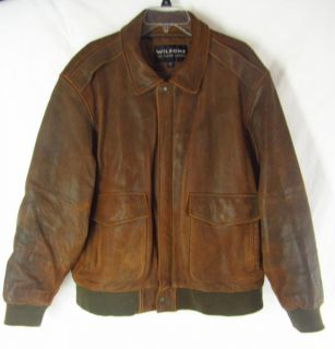 Wilsons Mens Brown Distressed Leather L Bomber Jacket Thinsulate Motorcycle