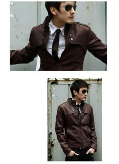Fashion New Mens Sexy PU Leather Slim Fit Short Jacket Tops Coat