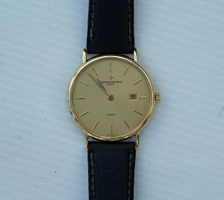 Vacheron Constantin Very Fine RARE Flat 18ct Yellow Gold Mens Wristwatch Watch