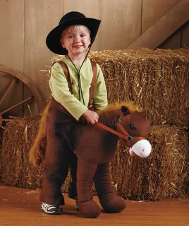 Kid Boy Ride on Horse Costume Cowboy Pretend Play Hop Jump Toy Christmas Pony