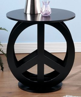 Purple Retro Peace Sign Wood End Table Furniture Tween Bed Game Room Black White