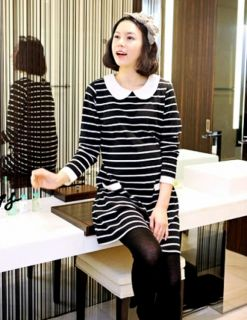Fashion Maternity Casual Dresses Pregnant Mini Dress Stripe Baby Doll Collar New