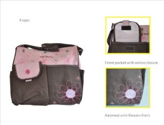 Big Flower Embroidery Baby Diaper Nappy Changing Bag 2 Pcs 2 Colors
