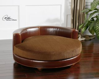 Dog Pet Bed Plush Corded Cushion Brown Leather Solid Wood Turned Feet