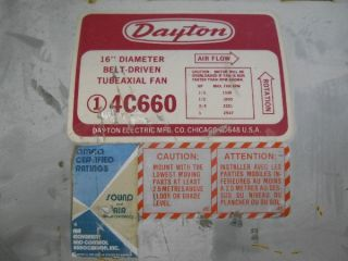 "Dayton 16"" Diameter Belt Driven Tubeaxial Industrial HVAC Exhaust Fan"
