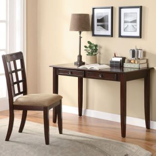 Coaster Wonderful 2 PC Rich Cherry Wood Writing Desk Table w Chair Two Drawers