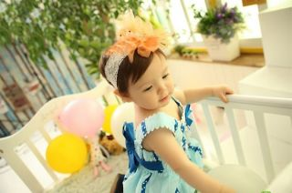 1pc New Baby Girl Toddler Chiffon Lace Flower Headband Hair Band Bow Accessory