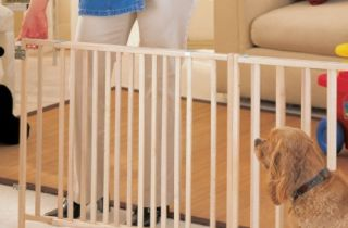 Wood Gate North States Baby Pet Safety Mount Pressure Mesh Swing Wide New Dog