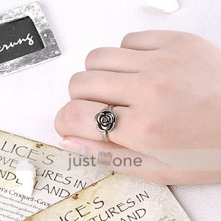 Fashion Retro Women Rose Flower Ring US 6 7 Adjustable