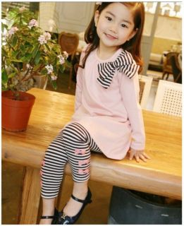 2pcs Girls Toddler Kids Clothes Striped Bow Shirt Leggings Kids Sets Suits 2 7Y