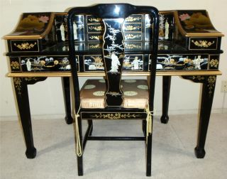 Chinoserie Lacquer Geisha Inlay Asian Oriental Drawer Full Body Desk Chair Mint
