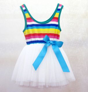 1pc Baby Girls Toddler Rainbow Top Dresses Party Tutu Clothes Outfit 2 3Y White
