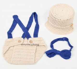 3pcs Baby Infant Girl Boy Hat Bow Tie Bib Pants Shorts Photo Prop Outfit Clothes