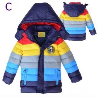 Boys Girls Baby Psy Gangnam Style Rainbow Down Jacket Kids Quilted Hoodise Coat