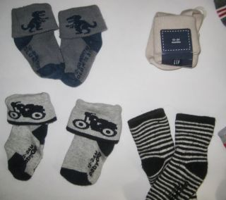 8 Pairs New Baby Gap Mini Boden Boys Dinosaur Motorcycle Sock Lot 2