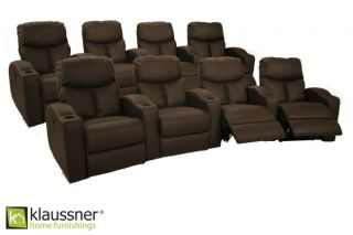 Klaussner 8 Brown Seats Home Theater Seating Chairs