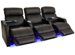 Seatcraft Sienna Home Theater Seating 3 Seats Black Power Bonded Leather Chairs
