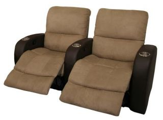 Catalina Home Theater Seating 2 Chairs Brown Recliners