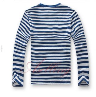 Cotton Couple Striped Color Casual T Shirt Long Sleeve Crew Neck for Boys Girls