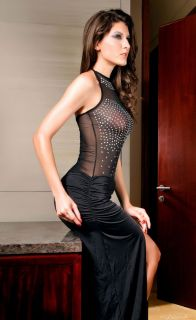 Sexy Maxi Evening Party Clubbing Ball Gown Dress Black Sheer Rhinestone Mesh