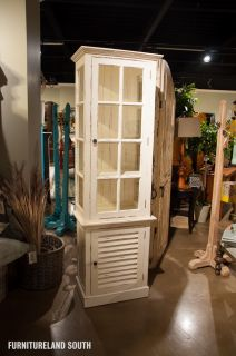 The Bramble Company White Cottage Tall Cabinet with Glass Door