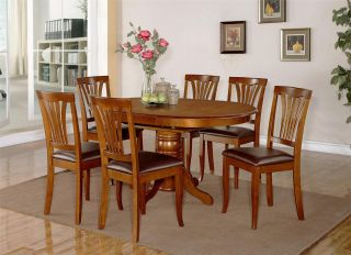7pc Dining Room Set Oval Table and 6 Faux Leather Upholstered Seat Chairs
