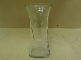 Designer Flower Vase 8 1 2in H x 4in D Clear Contemporary Round Curved Glass